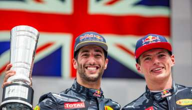 Daniel Ricciardo and Max Verstappen after the German GP F1 2016 on podium Foto Red Bull