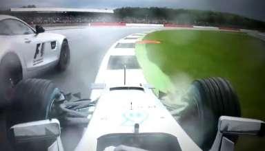 Hamilton Mercedes W07 Hybrid British GP onboard almost hit safety car screenshot youtube