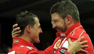 Ross Brawn Michael Schumacher Ferrari F1 team foto pinterest