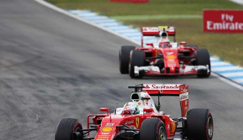 Sebastian Vettel leads Kimi Raikkonen at the German GP F1 2016 Foto f1fanatic