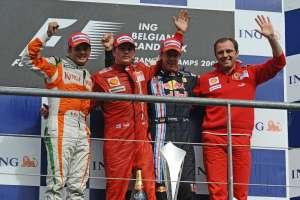 Belgian GP F1 2009 podium Fisichella Raikkonen Vettel Domenecalli Foto Ferrari