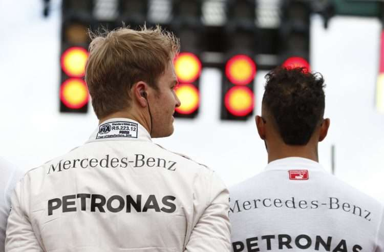 Lewis Hamilton and Nico Rosberg Mercedes W07 Hybrid German GP F1 2016 before the race Foto Daimler