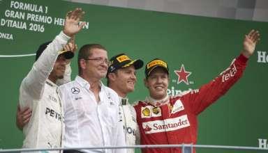 Italian GP Monza F1 2016 podium ceremony Rosberg Hamilton Vettel Foto Daimler