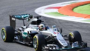 Lewis Hamilton Mercedes W07 Hybrid Italian GP F1 2016 first chicane Foto Daimler