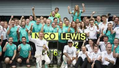 Mercedes F1 team celebrates Rosberg's victory at Italian GP F1 2016 Foto Daimler