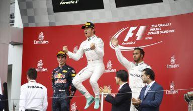 Rosberg jumps on 2016 Japanese GP podium with Hamilton and Verstappen Photo Daimler
