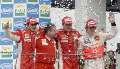 Brazil F1 2007 podium Raikkonen Massa Alonso Foto Ferrari