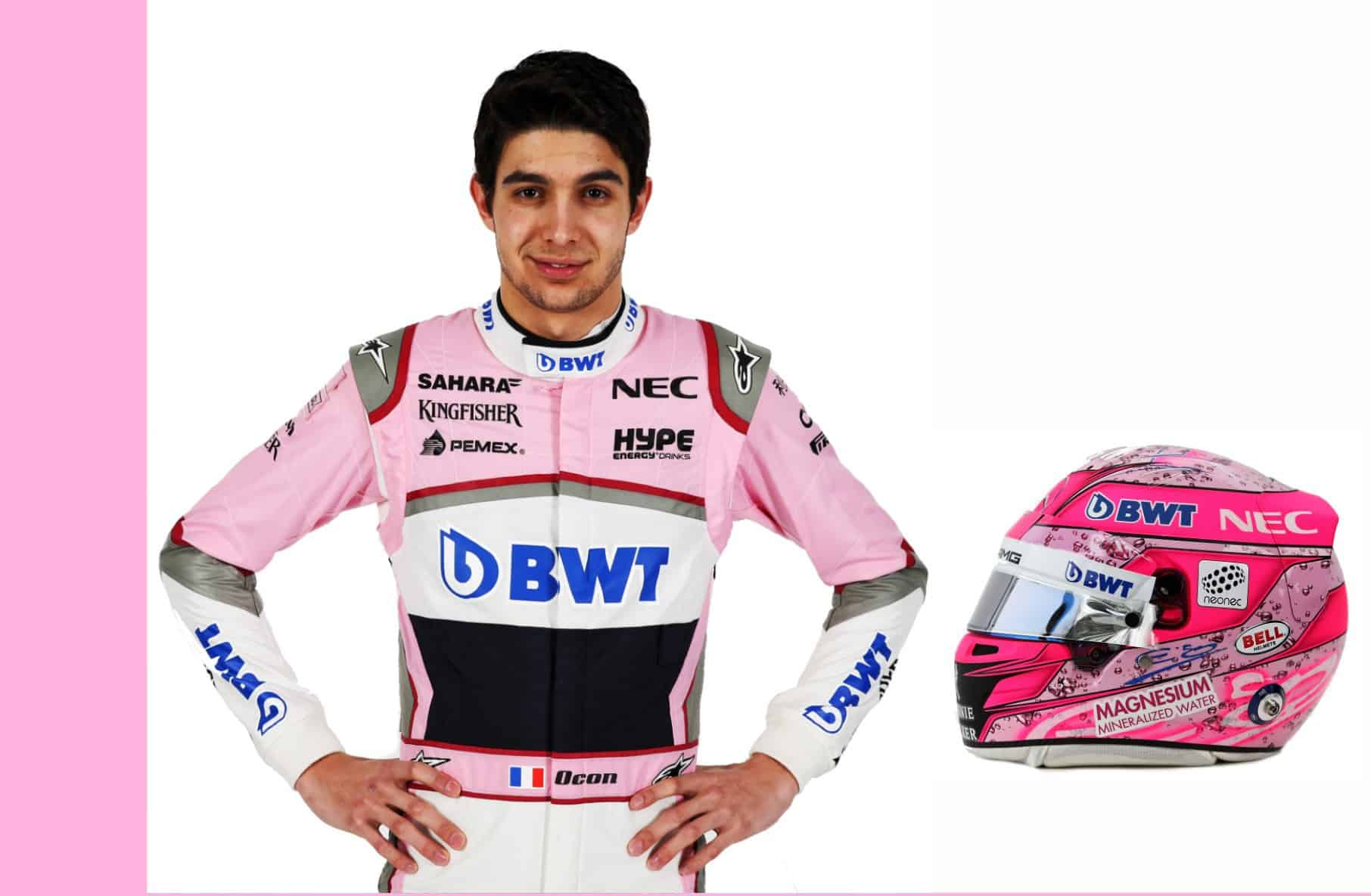 Esteban Ocon Force India driver portrait and helmet F1 2018