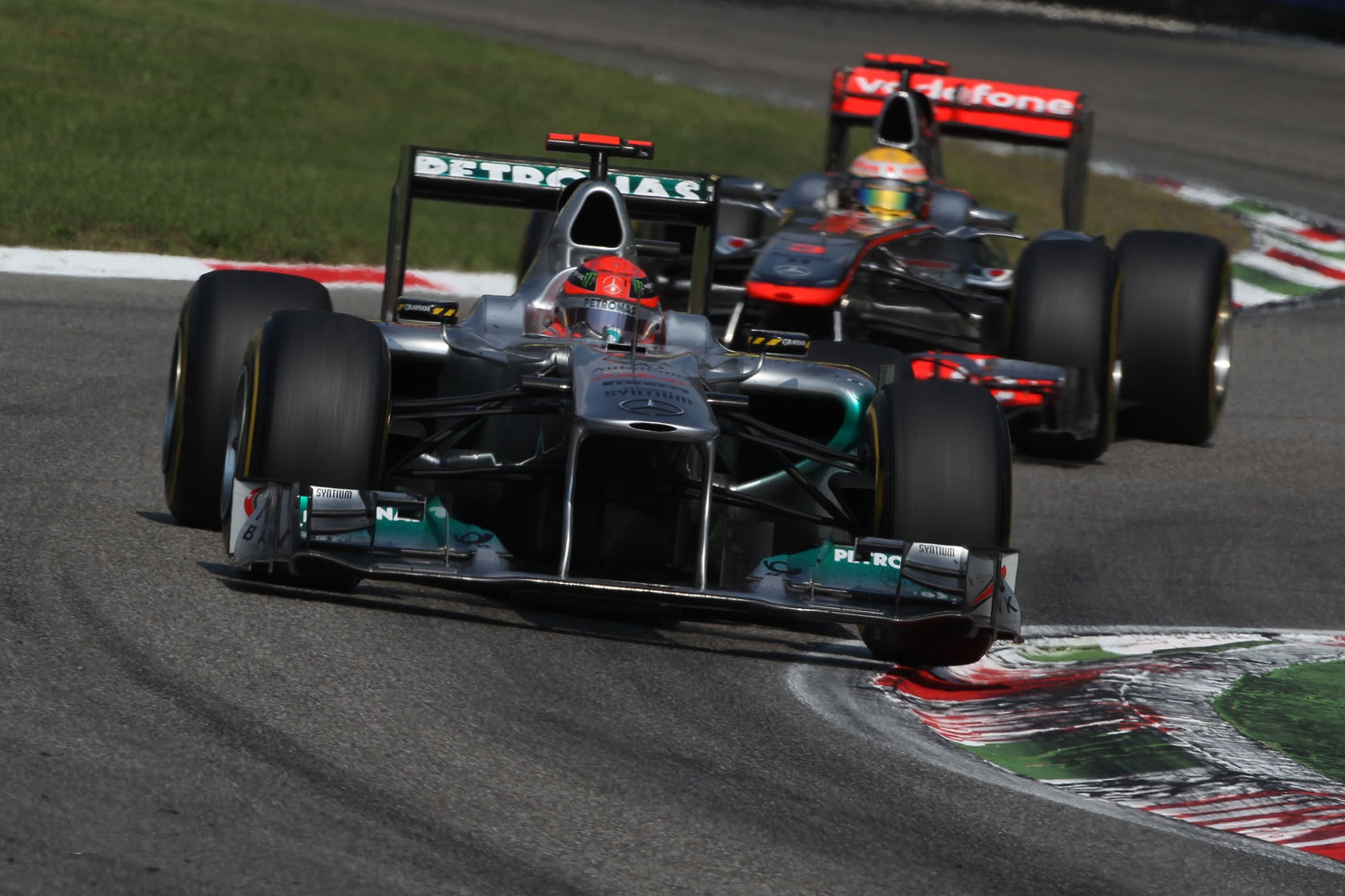 Michael Schumacher and Lewis Hamilton, Italian GP 2011.