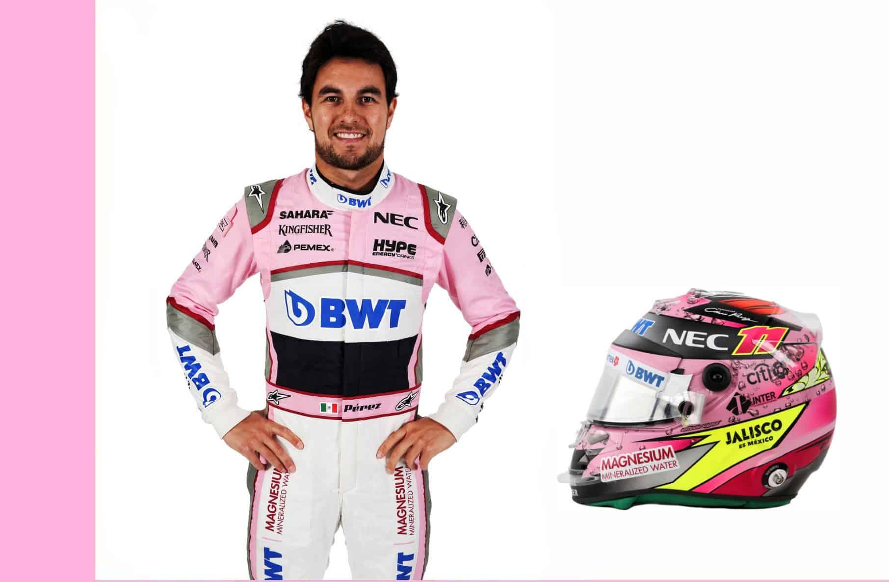 Sergio Perez Force India driver portrait and helmet F1 2018