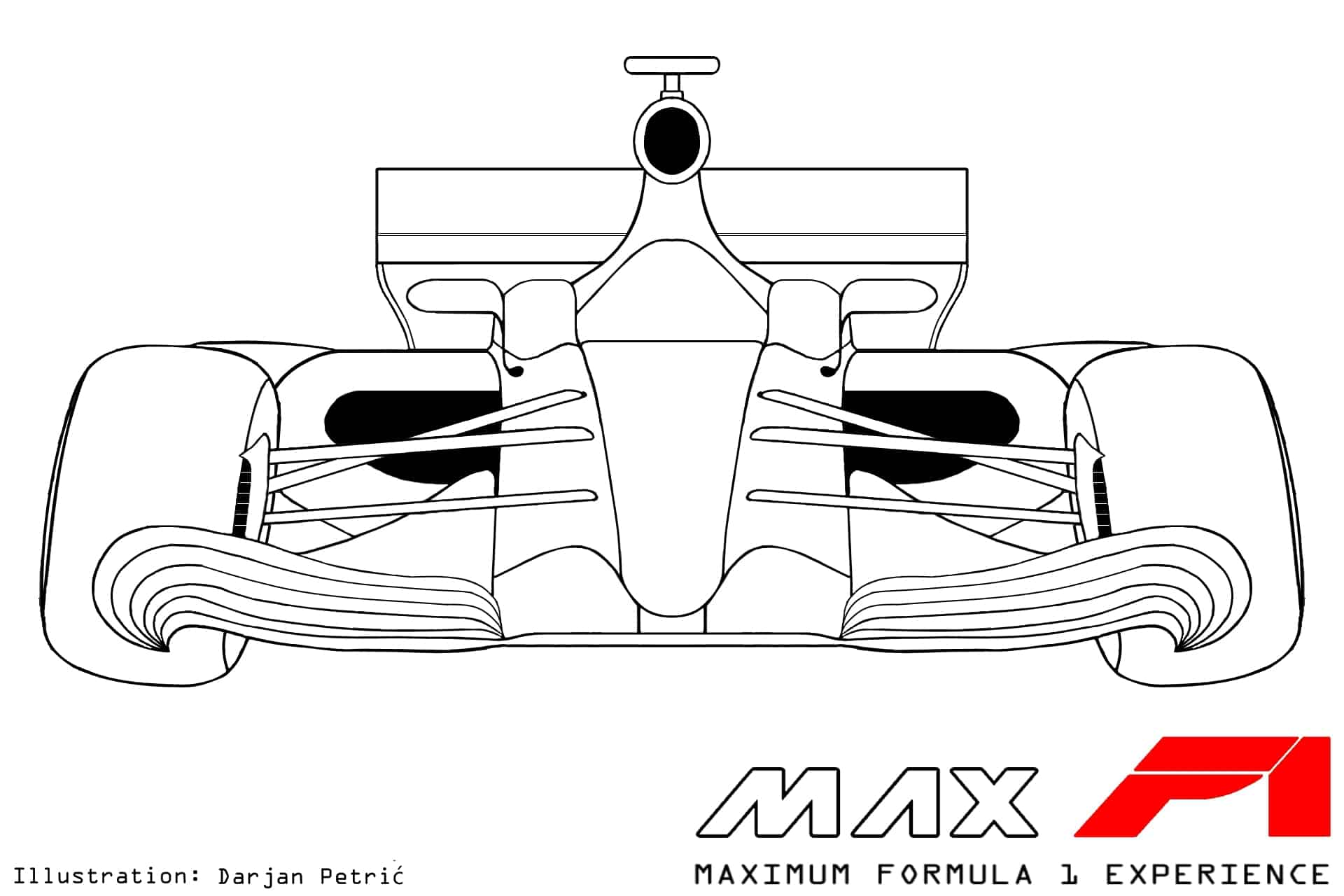 Formula 1 2017 car front technical drawing by Darjan Petric maxf1.net eng red