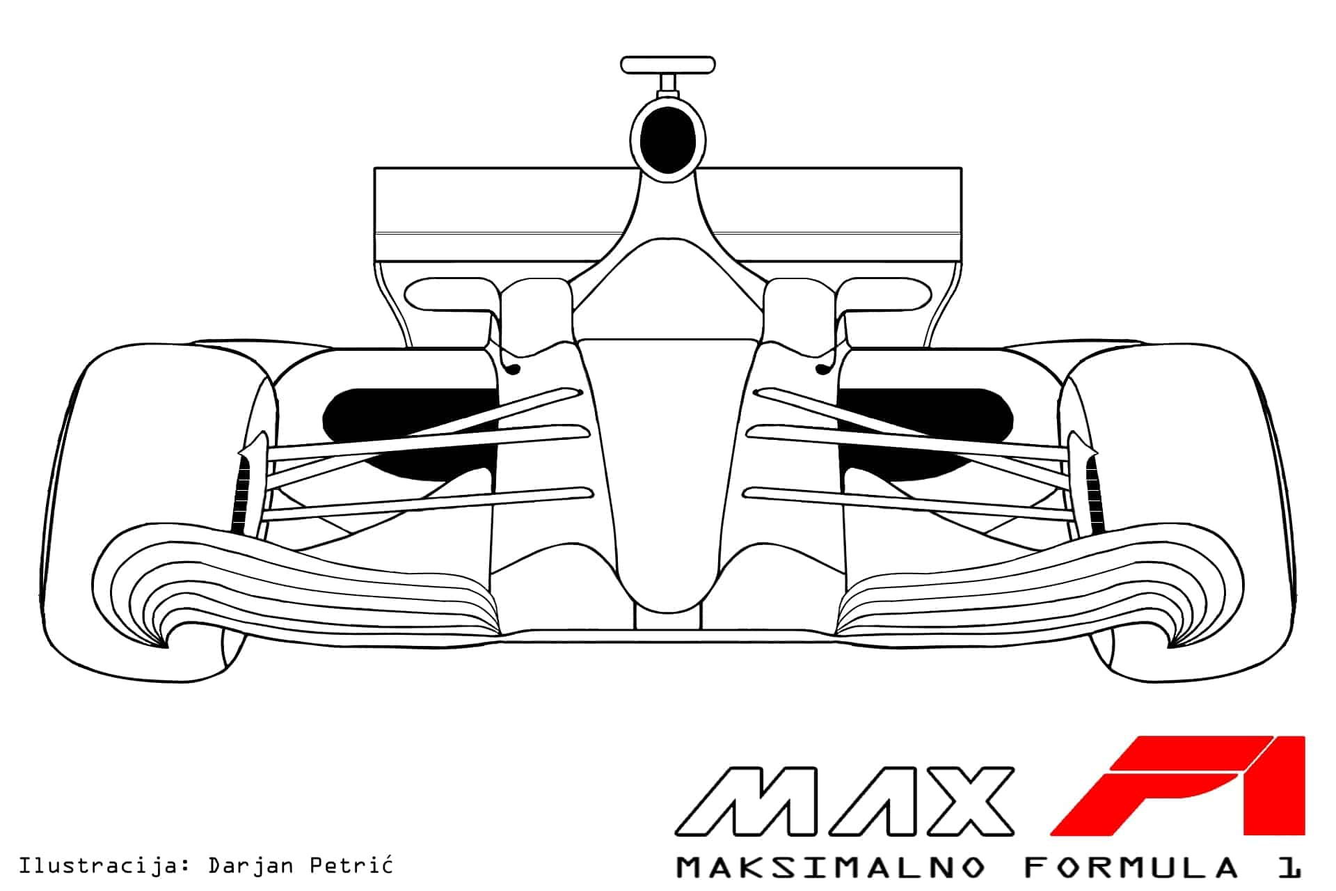 Formula 1 2017 car front technical drawing by Darjan Petric maxf1.net hrv red