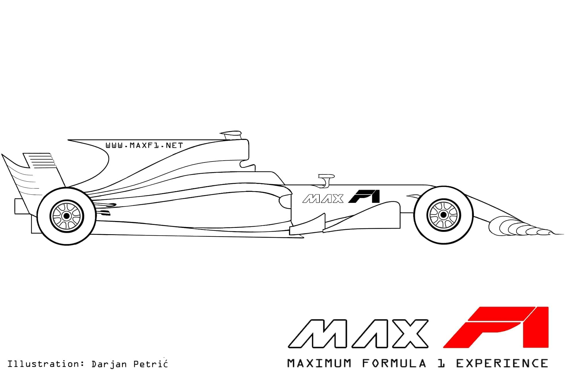 Formula 1 2017 car side technical drawing by Darjan Petric maxf1.net eng red