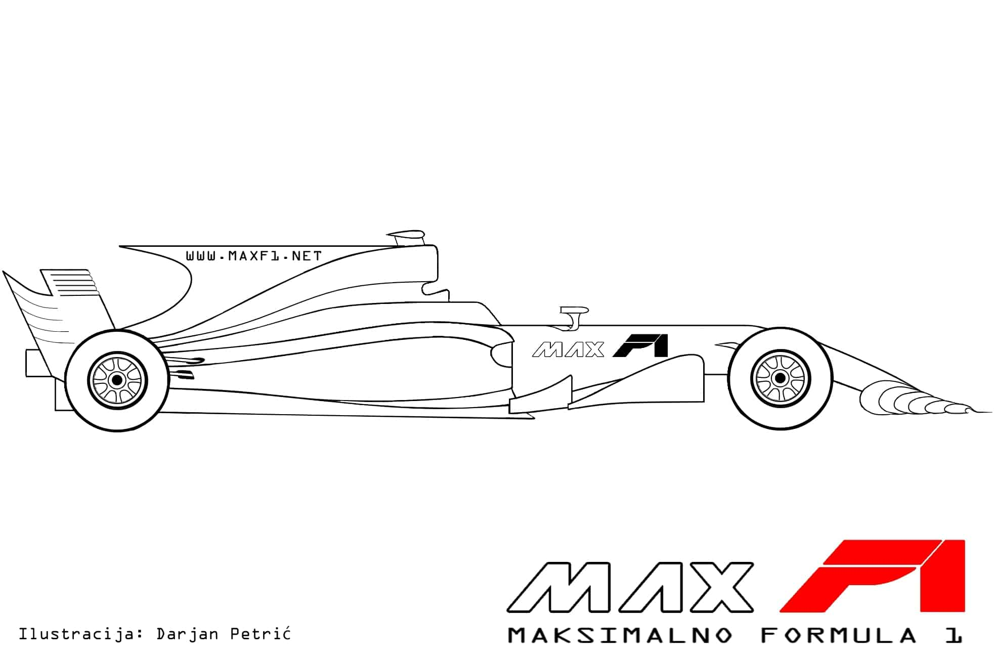 Formula 1 2017 car side technical drawing by Darjan Petric maxf1.net hrv red