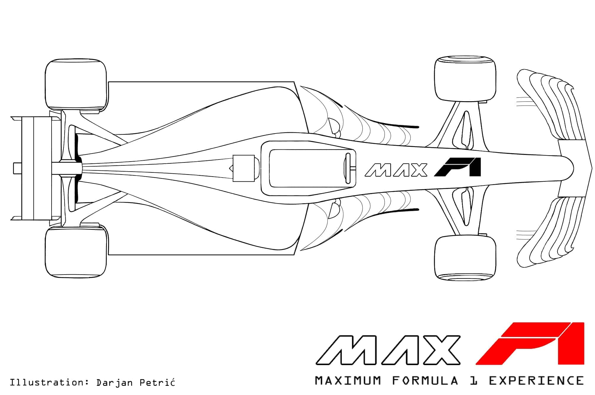 Formula 1 2017 car top technical drawing by Darjan Petric maxf1.net eng red