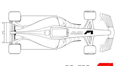 Formula 1 2017 car top technical drawing by Darjan Petric maxf1.net hrv red