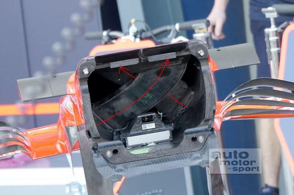 Ferrari SF70H S duct channels inside nosecone Foto Auto Motor und Sport