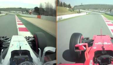 bottas mercedes w08 raikkonen ferrari sf70h onboard f1 2017 barcelona screenshot youtube