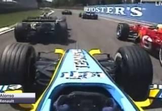 Alonso Renault F1 Imola San Marino 2006 onboard start