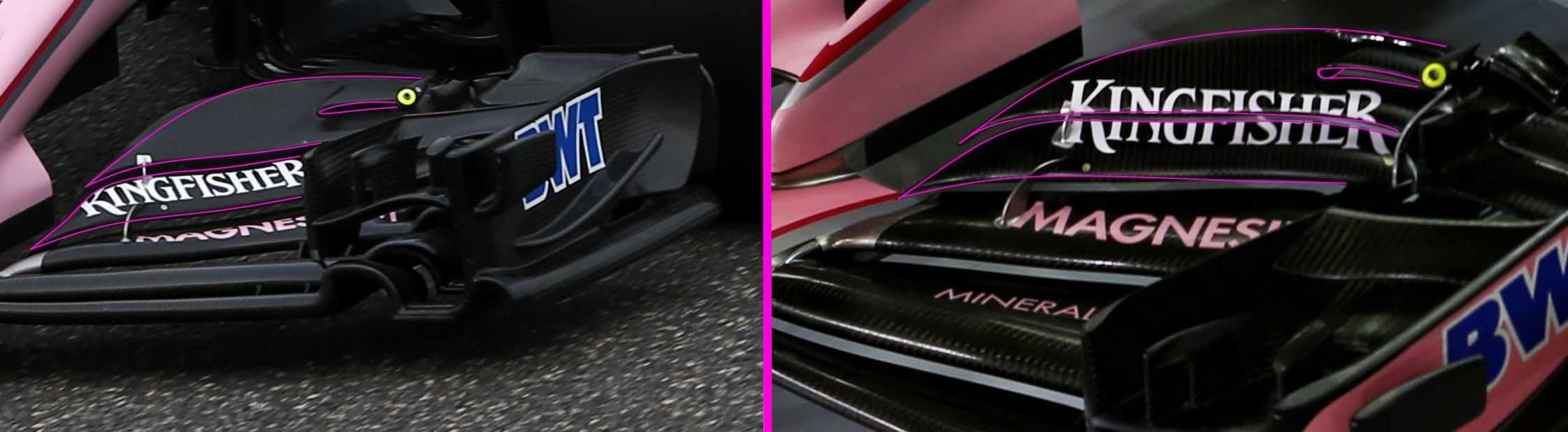 Force India VJM10 front wing comparison Foto Force India MAXF1net