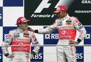 Hamilton Alonso McLaren podium Indianapolis USA GP F1 2007 Foto Reuters