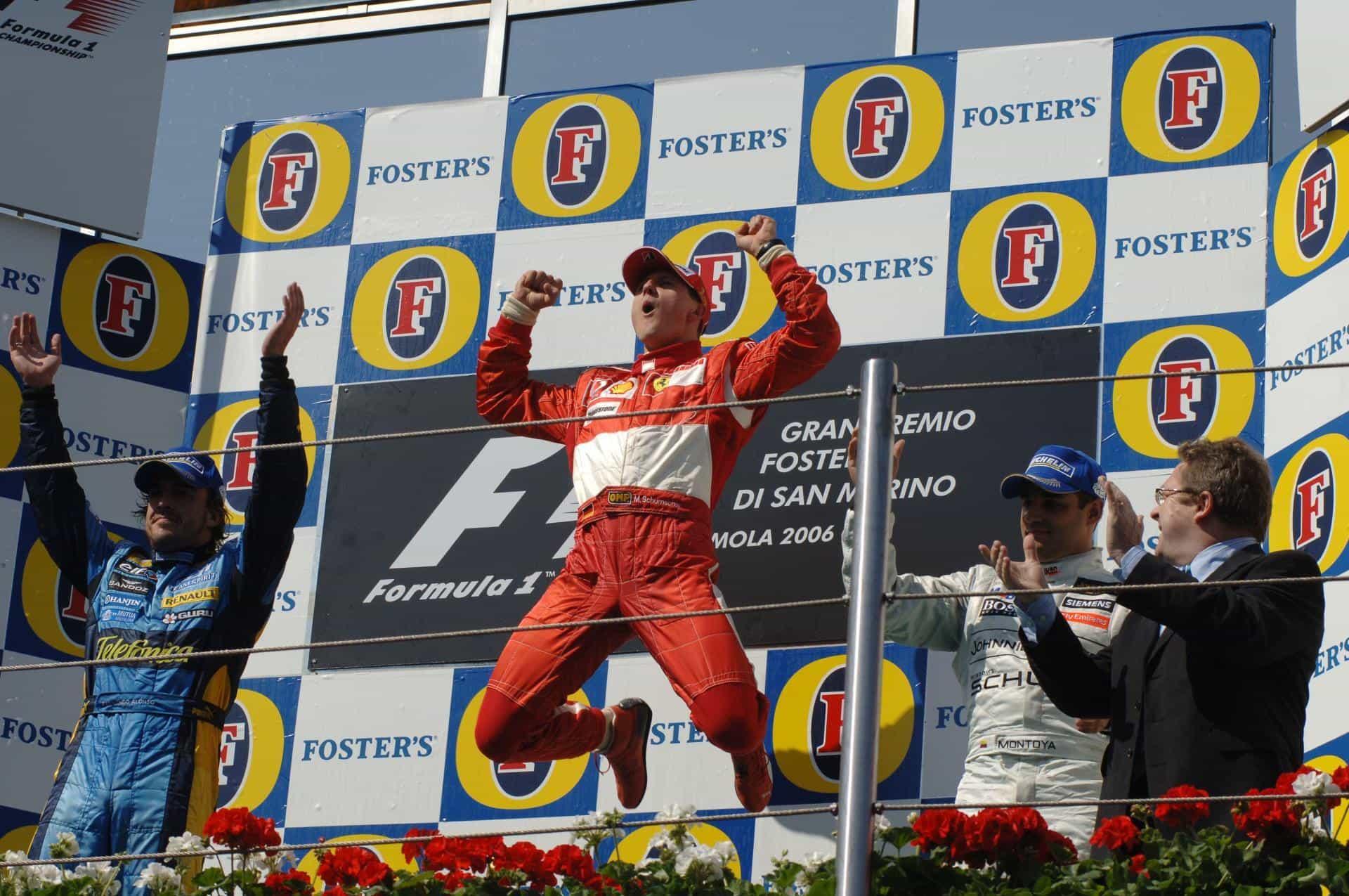 GRAND PRIX D'ÉMILIE-ROMAGNE 2020 — Formula 1 Emirates Gran Premio Dell'emilia Romagna 2020 San-Marino-Imola-F1-2006-podium-Foto-Ferrari