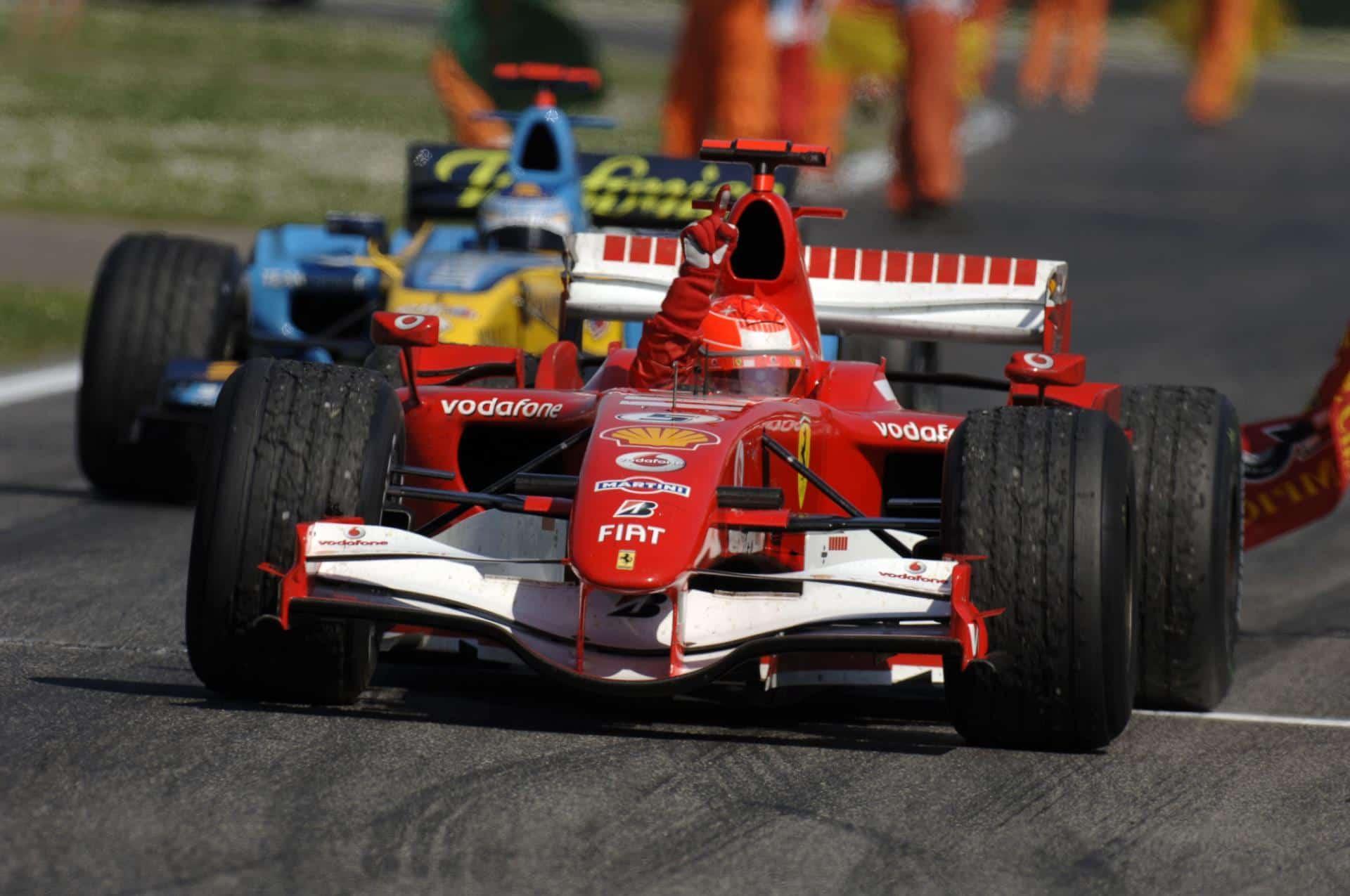 Schumacher celebrates victory San Marino F1 2006 Imola Foto Ferrari
