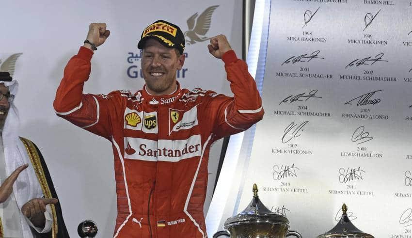 Vettel Bahrain F1 2017 podium Foto Ferrari