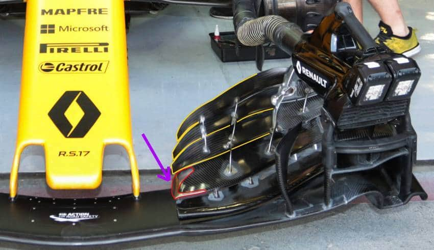 renault r.s.17 front wing new bahrain f1 2017 test foto renault maxf1net