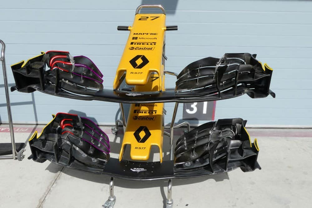 renault rs27 front wing new bahrain f1 2017 test