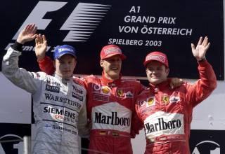 Austrian GP F1 2003 podium Michael Schumacher Kimi Raikkonen Rubens Barrichello
