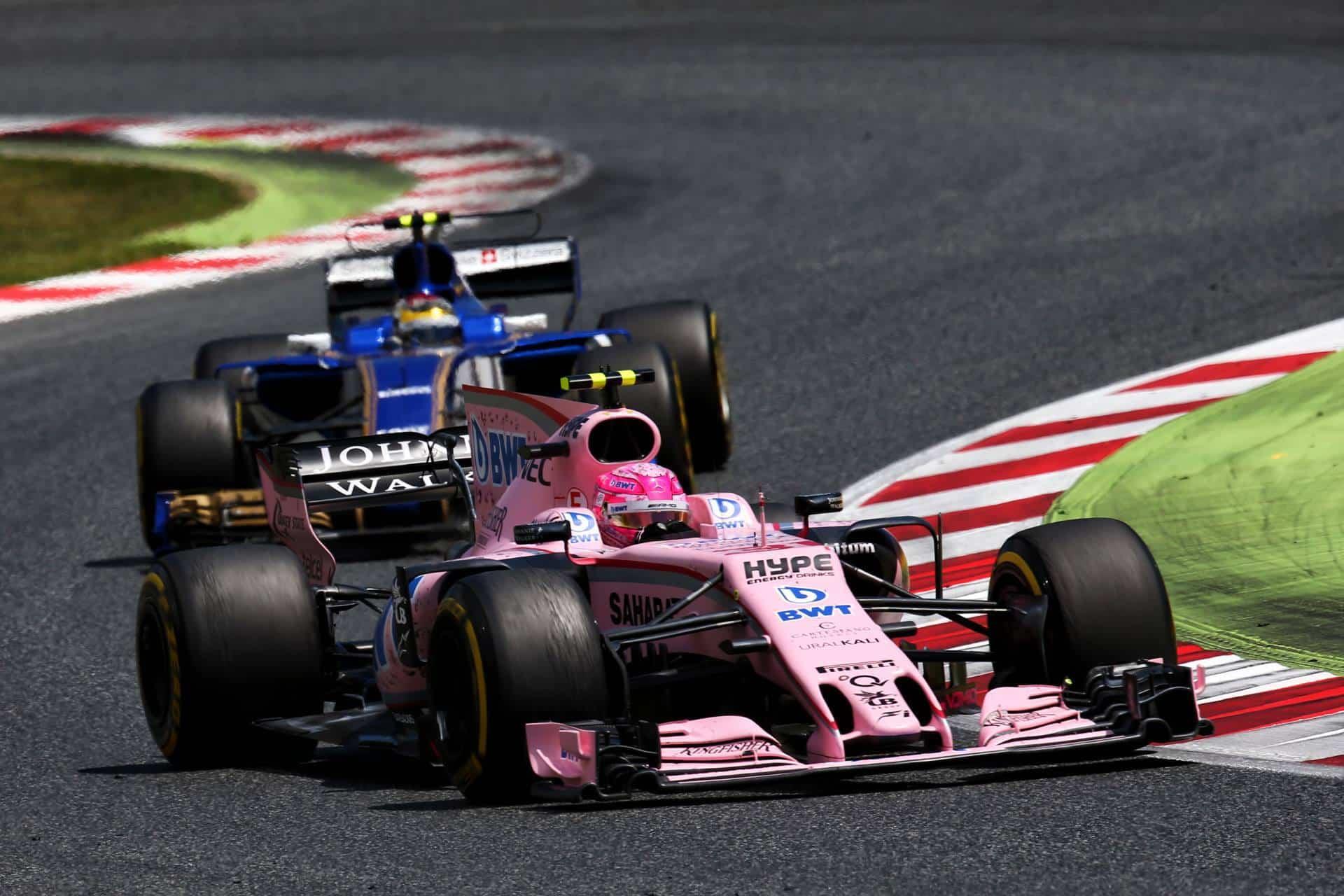 Ocon Force India leads Wehrlein Sauber Spanish GP F1 2017 Foto Force India