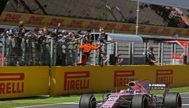 Perez Force India Spanish GP F1 2017 finish line 4th Foto Force India