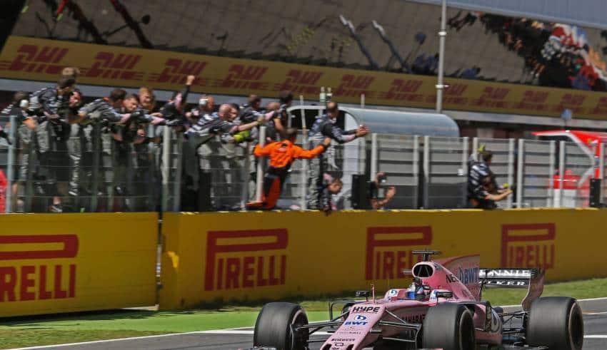 Perez Force India Spanish GP F1 2017 finish line 4th Foto Force India