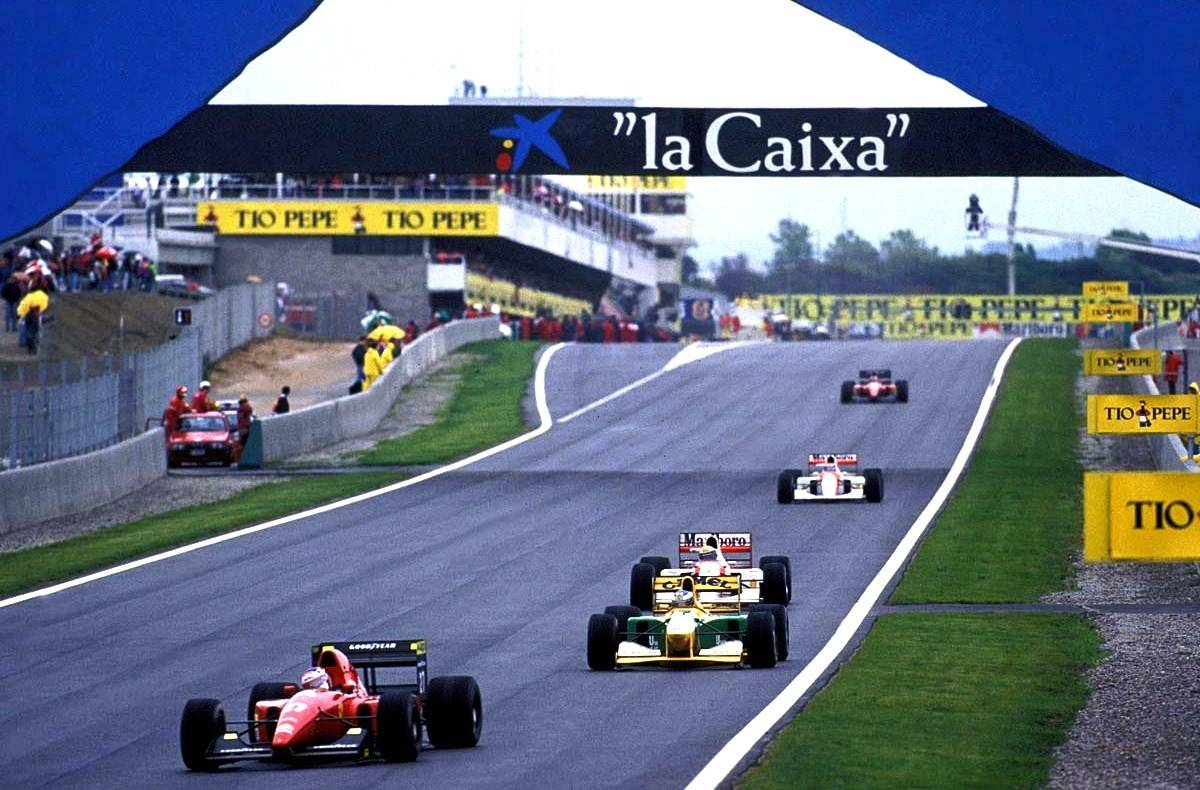 Spanish GP F1 1992 Alesi leads Schumacher Senna Berger