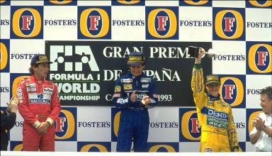 Spanish GP F1 1993 Barcelona Prost Senna Schumacher on podium Photo GPExpert