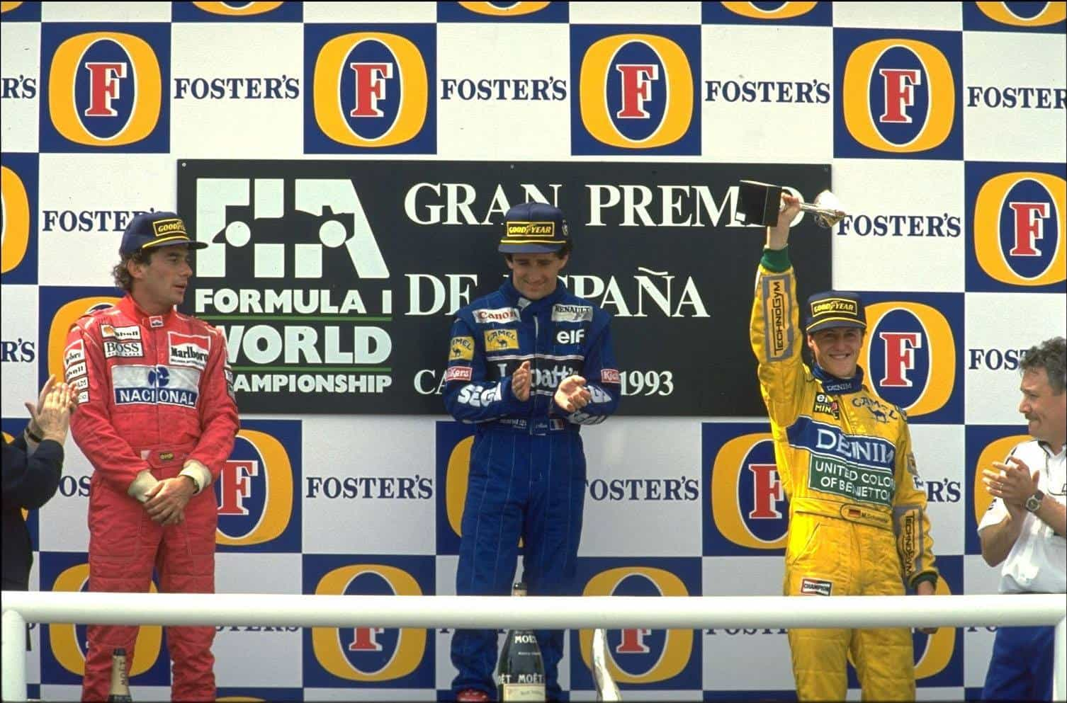 Spanish GP F1 1993 Barcelona Prost Senna Schumacher on podium Photo GPExpert