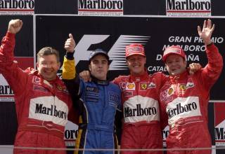 Spanish GP F1 2003 podium Brawn Alonso Schumacher Barrichello Foto Ferrari
