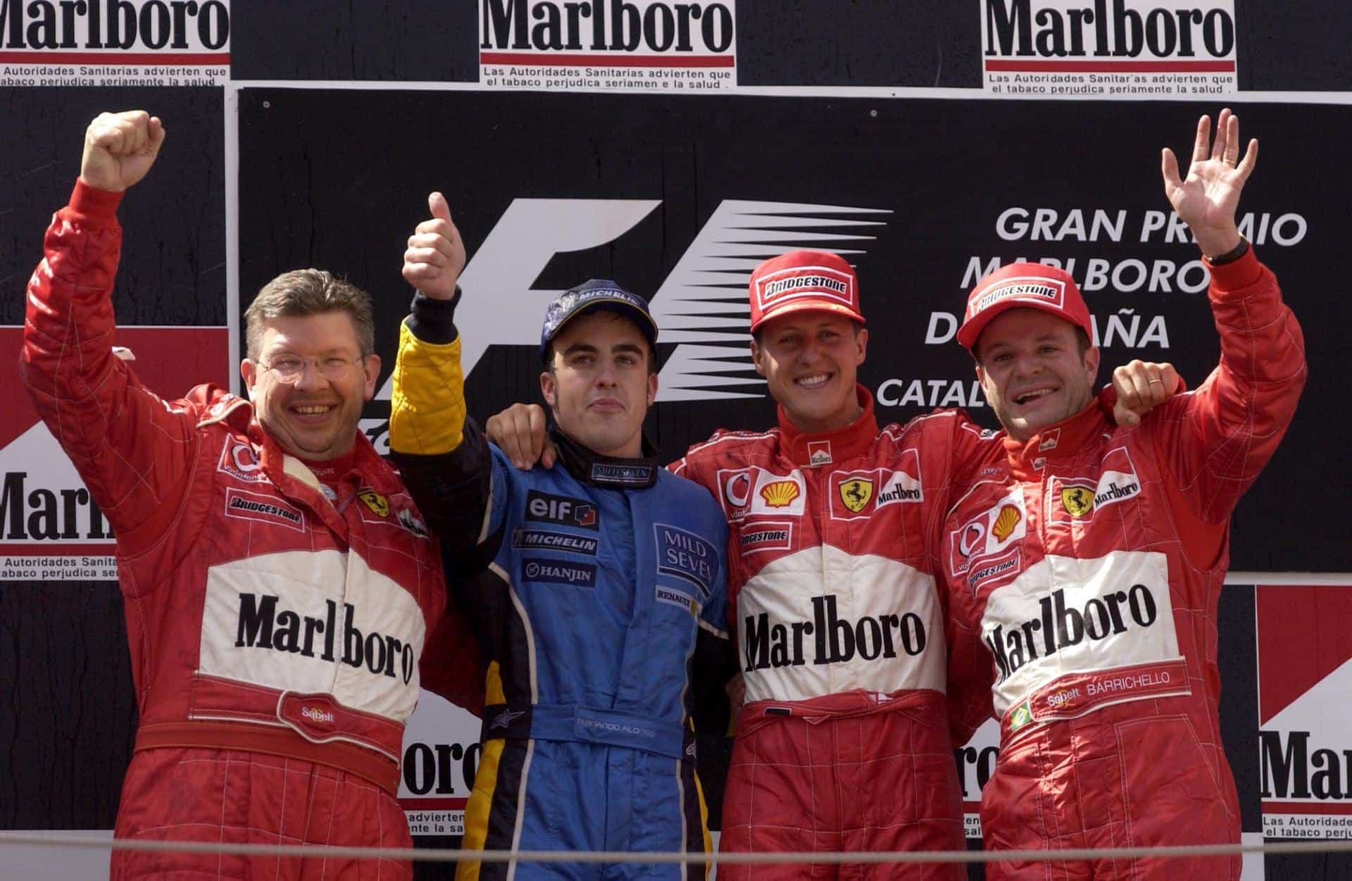 Spanish GP F1 2003 podium Brawn Alonso Schumacher Barrichello Foto Ferrari