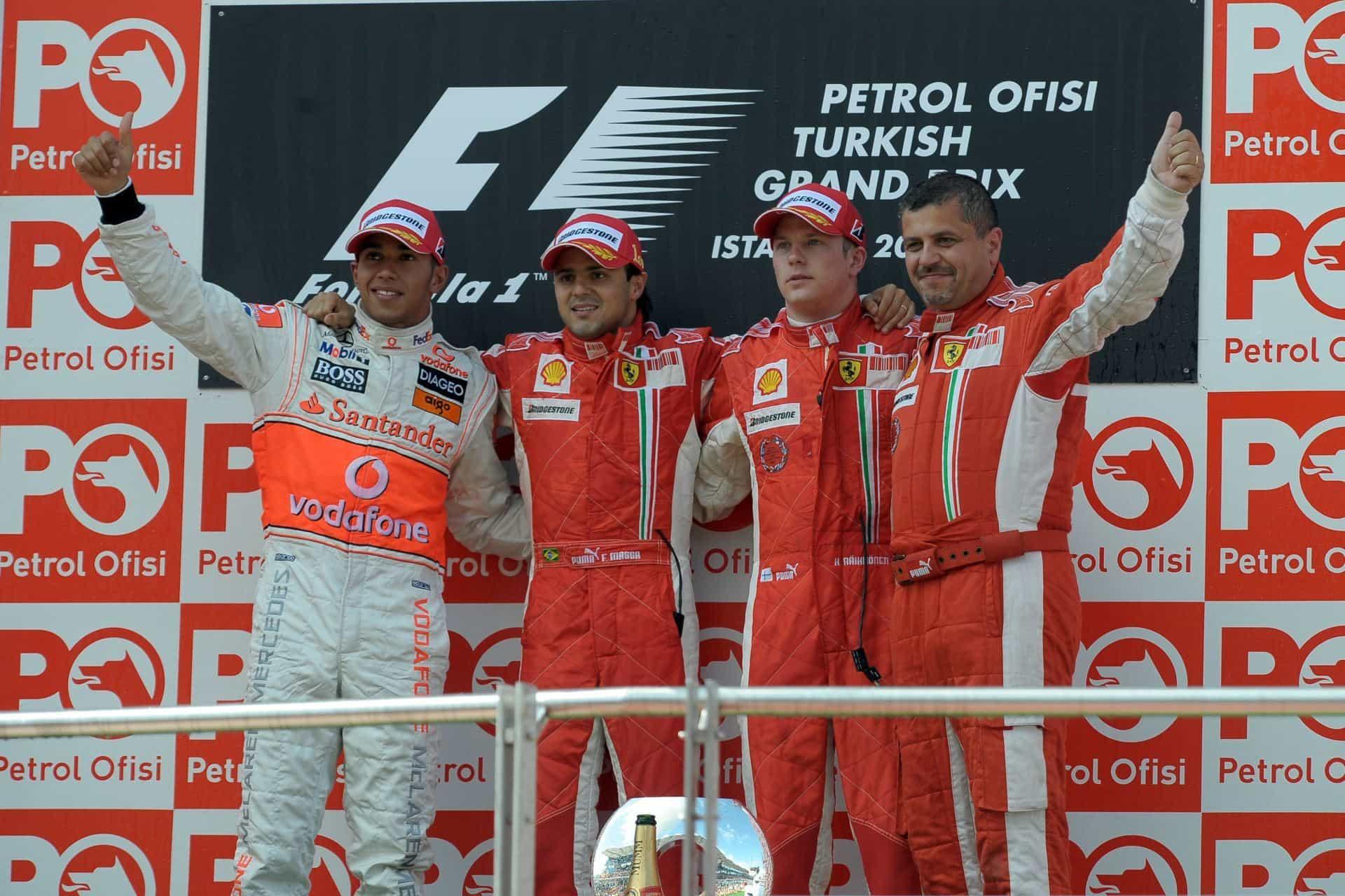 Turkish GP F1 2008 podium Massa Raikkonen Hamilton Foto Ferrari