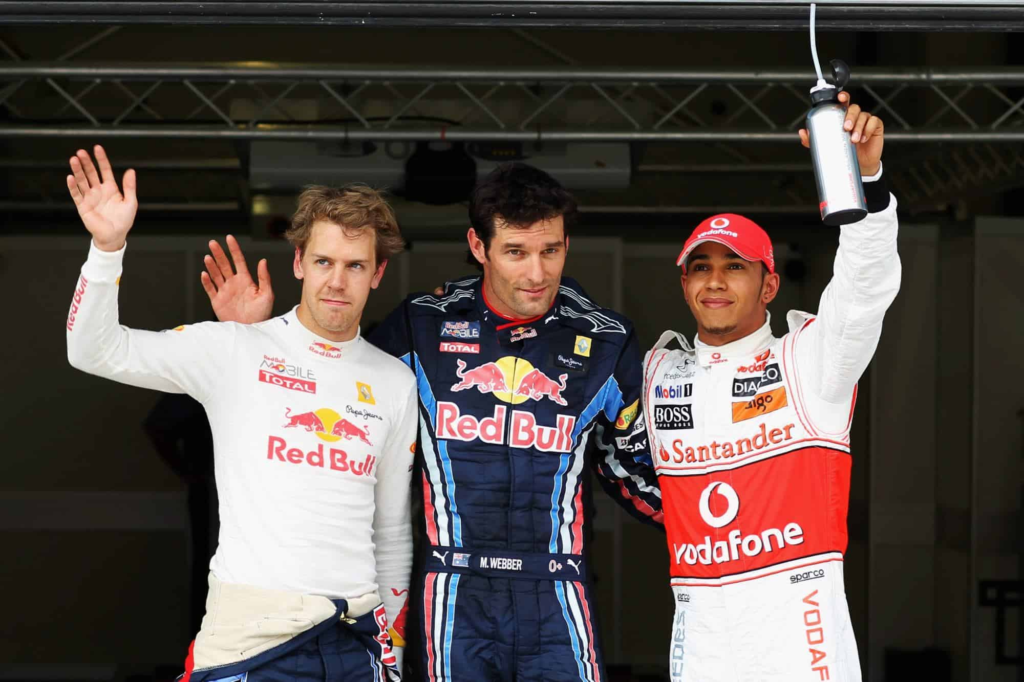 Turkish GP F1 2010 qualifying top three Webber Vettel Hamilton Photo Red Bull