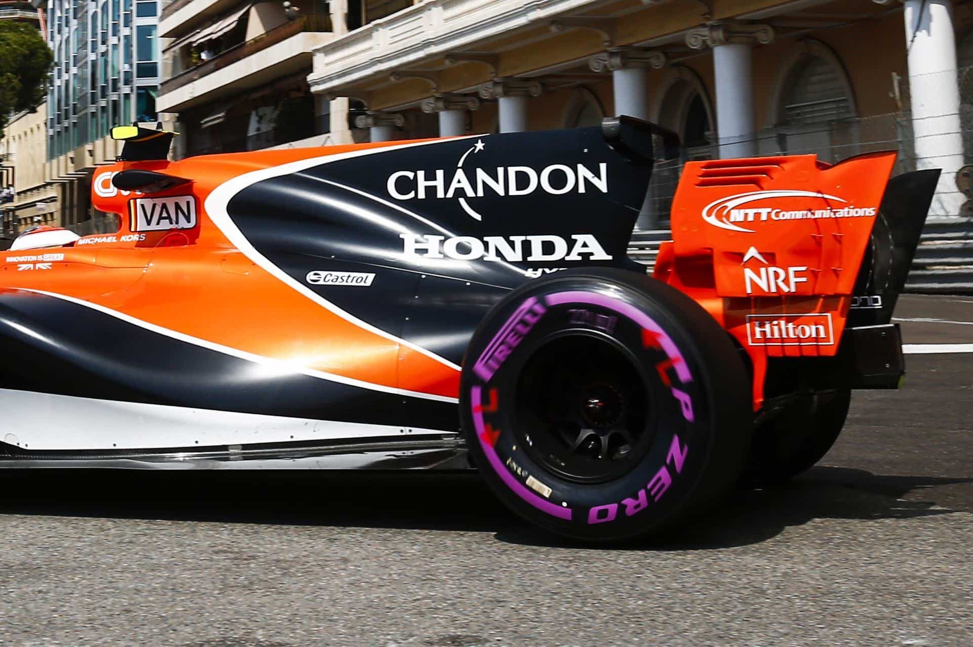 Vandoorne McLaren Honda MCL32 Monaco GP F1 2017 close rear end Photo McLaren