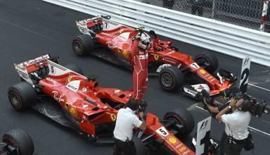Vettel-and-Raikkonen-Ferrari-parc-ferme-Monaco-GP-F1-2017-Foto-Ferrari