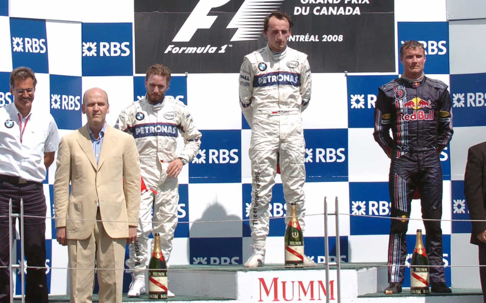 Canada F1 2008 podium Kubica Heidfeld COulthard Foto F1fansite