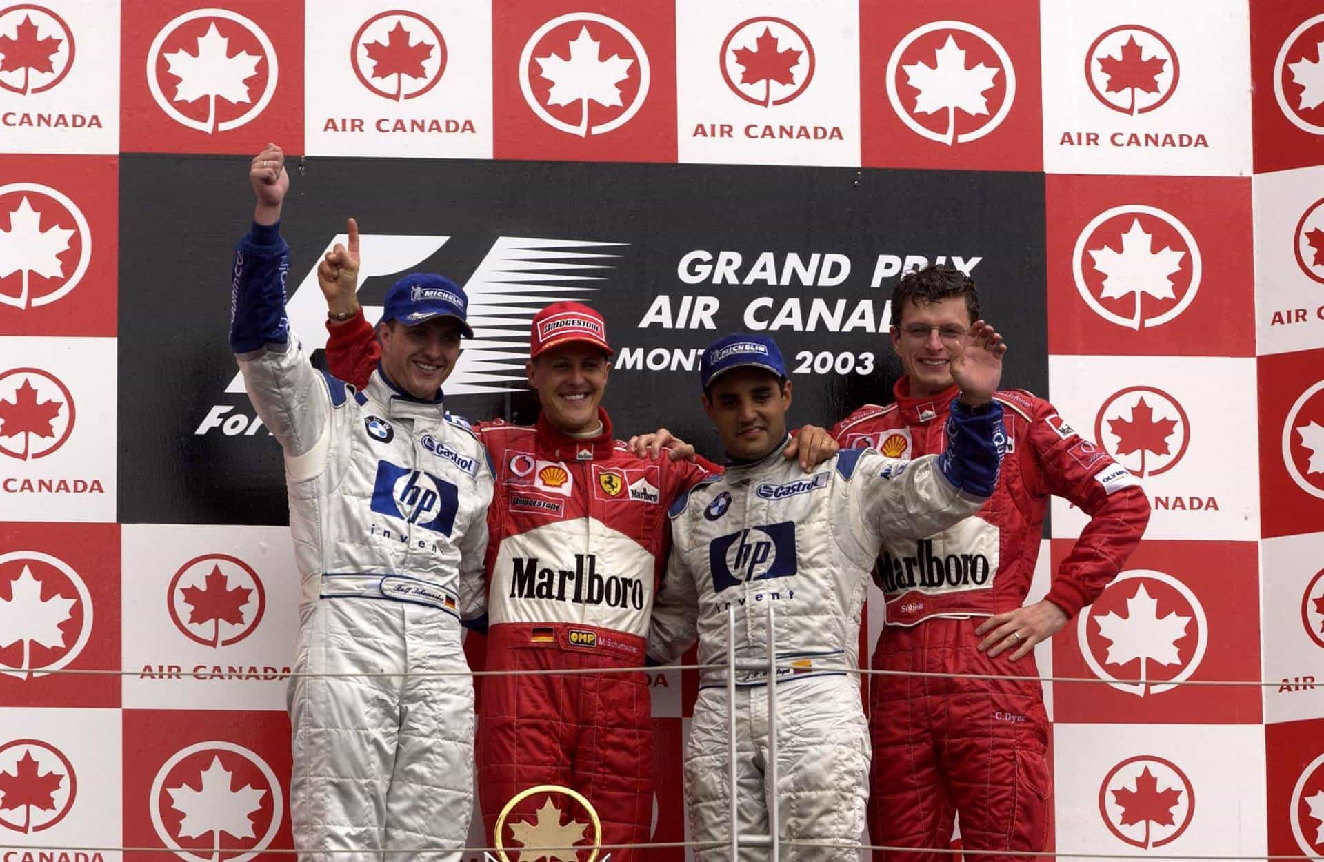 Canadian GP F1 2003 podium Photo Ferrari