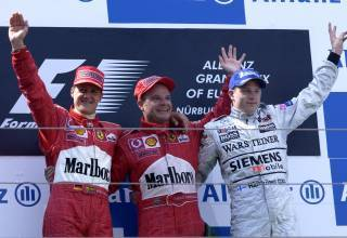 European GP F1 2002 podium Michael Schumacher Rubens Barrichello Kimi Raikkonen Photo Ferrari