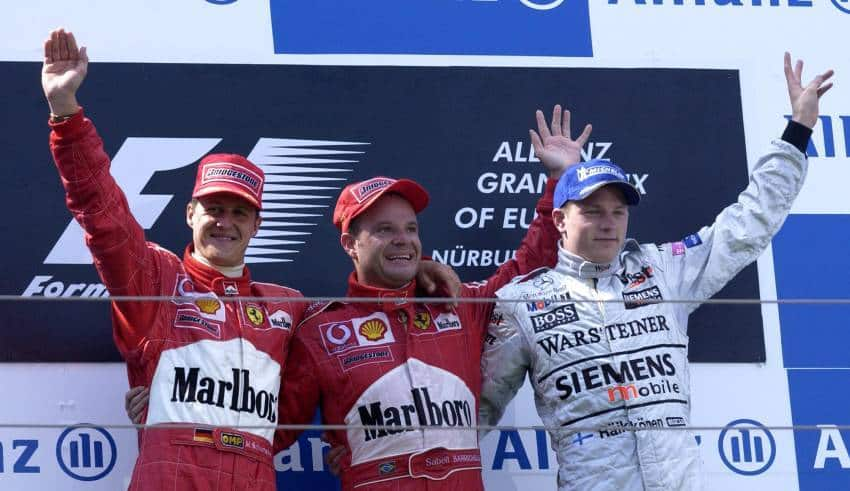European GP F1 2002 podium Michael Schumacher Rubens Barrichello Kimi Raikkonen Photo Ferrari