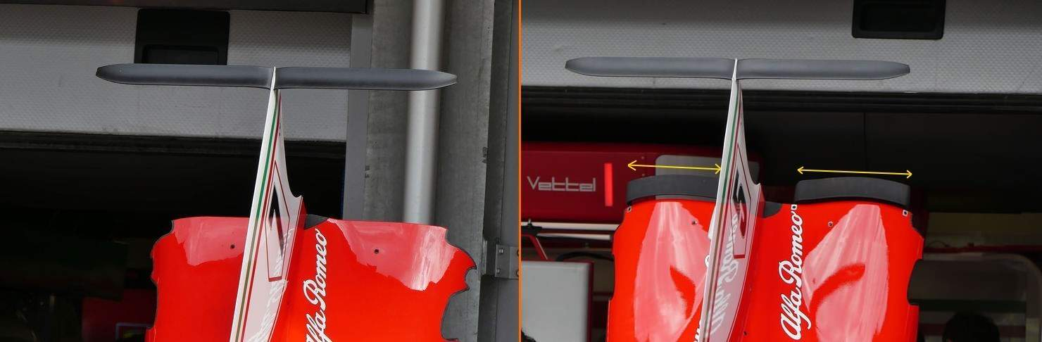 Ferrari SF70H rear end engine cover flaps