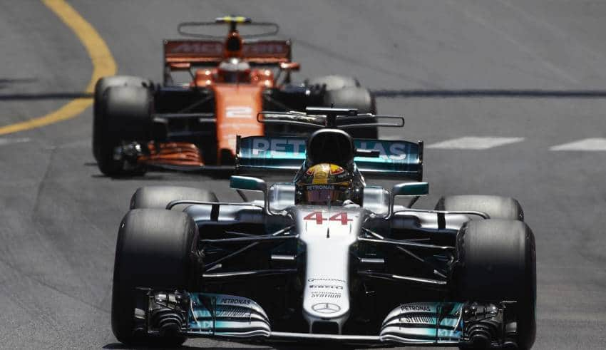 Hamilton leads Vandoorne Monaco F1 2017 Photo Daimler