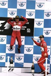Michael Schumacher Eddie Irvine Ferrari Canadian GP F1 1998 podium Photo F1 history